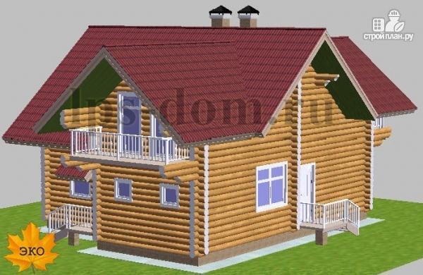 Фото 5: проект дом из бревна с большой и светлой гостиной