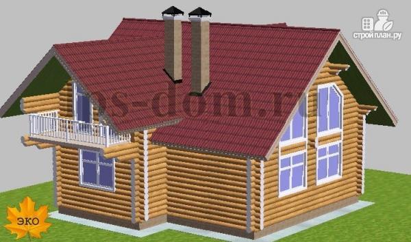 Фото 3: проект дом из бревна с большой и светлой гостиной