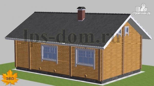 Фото 2: проект бревенчатый дом со вторым светом и антресолью