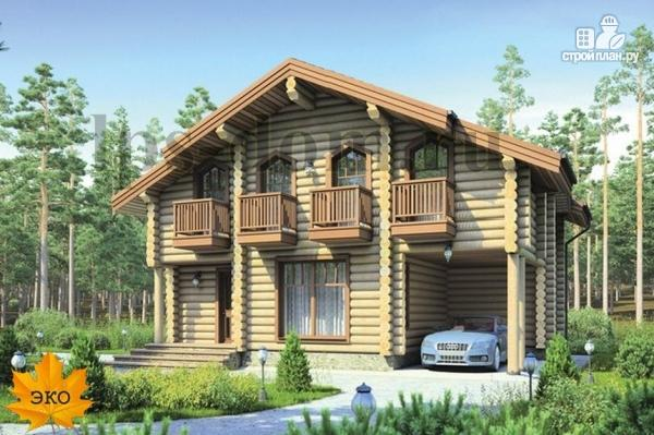 Фото: проект деревянный дом с четыремя балконами и навесом для машины