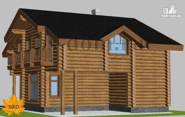 Фото 5: проект деревянный дом с четыремя балконами и навесом для машины