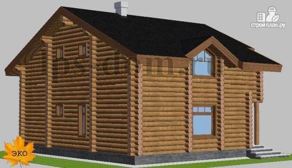 Фото 3: проект деревянный дом с четыремя балконами и навесом для машины