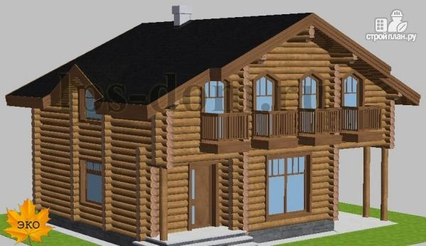 Фото 2: проект деревянный дом с четыремя балконами и навесом для машины