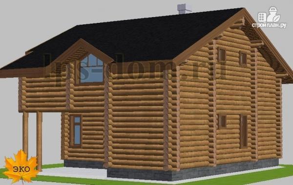 Фото 4: проект деревянный дом с четыремя балконами и навесом для машины