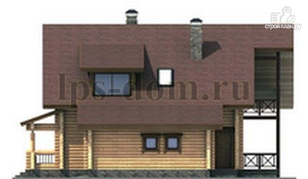 Фото 8: проект дом из бревна с балконом, террасой и гаражом
