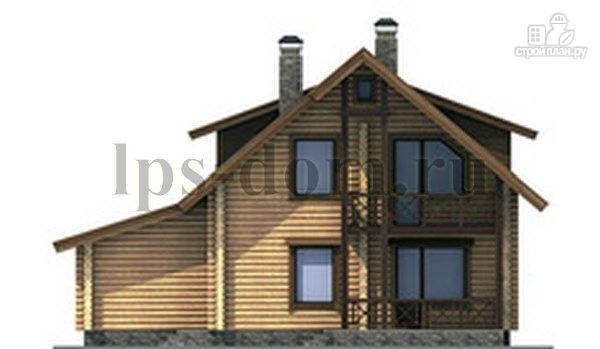 Фото 7: проект дом из бревна с балконом, террасой и гаражом