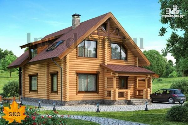 Фото: проект дом из бревна с балконом, террасой и гаражом