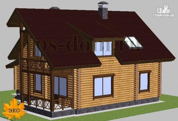 Фото 3: проект дом из бревна с балконом, террасой и гаражом