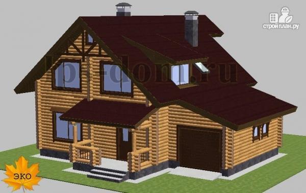 Фото 5: проект дом из бревна с балконом, террасой и гаражом