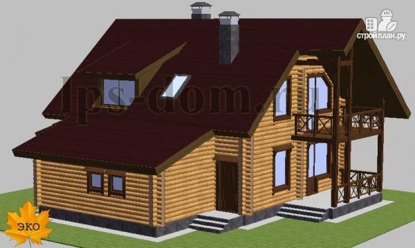 Фото 4: проект дом из бревна с балконом, террасой и гаражом