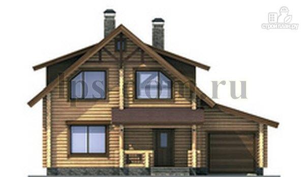 Фото 6: проект дом из бревна с балконом, террасой и гаражом