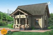 Фото: дом из бревна с сауной и мансардой