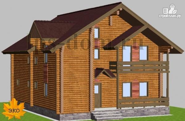 Фото 2: проект дом из бревна с рациональной планировкой