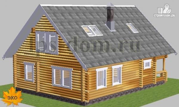 Фото 2: проект бревенчатый дом с сауной и вторым светом в гостиной