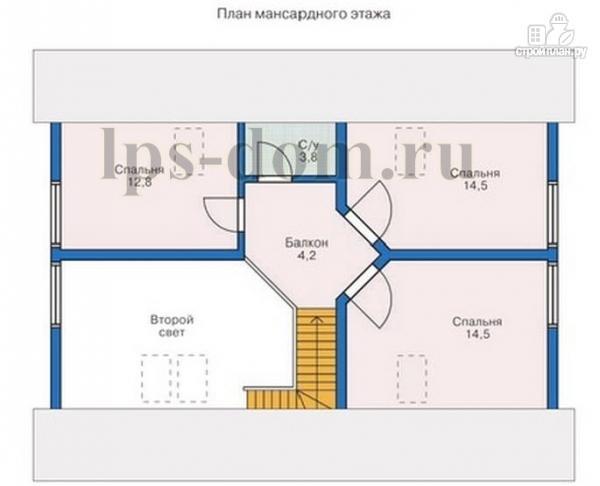 Фото 14: проект бревенчатый дом с сауной и вторым светом в гостиной