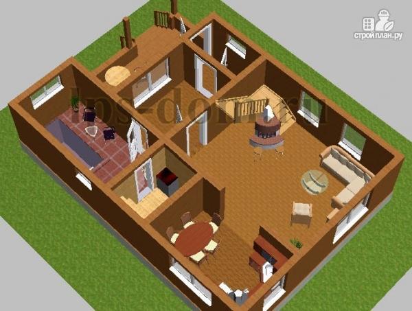 Фото 7: проект бревенчатый дом с сауной и вторым светом в гостиной