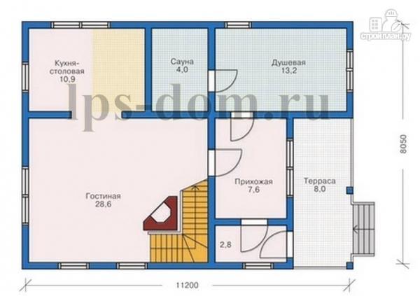 Фото 13: проект бревенчатый дом с сауной и вторым светом в гостиной