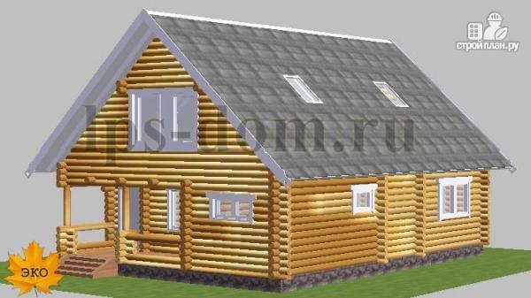 Фото 5: проект бревенчатый дом с сауной и вторым светом в гостиной