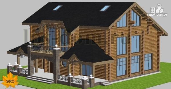 Фото 2: проект трёхэтажный бревенчаиый дом с баней и бассейном