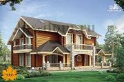 Фото: трёхэтажный бревенчаиый дом с баней и бассейном