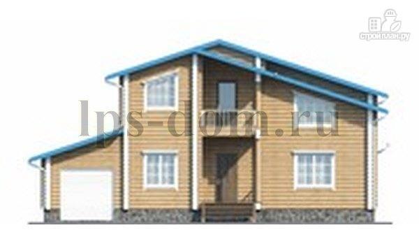 Фото 2: проект бревенчатый дом с двухсветной гостиной