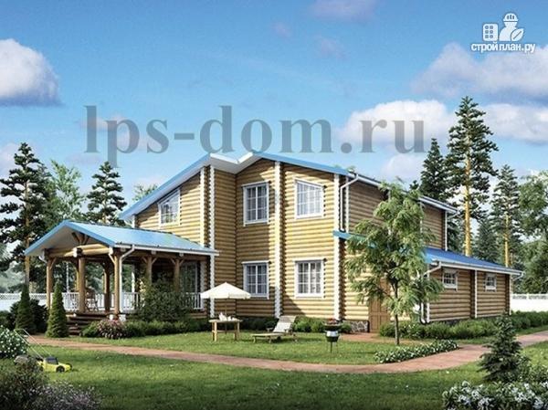 Фото: проект бревенчатый дом с двухсветной гостиной
