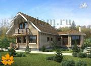 Фото: дом из бревна с верандой-столовой