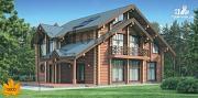 Проект трёхэтажный бревенчатый дом с сауной