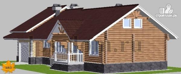 Фото 5: проект бревенчатый дом с гаражом и камином