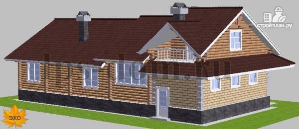 Фото 4: проект бревенчатый дом с гаражом и камином