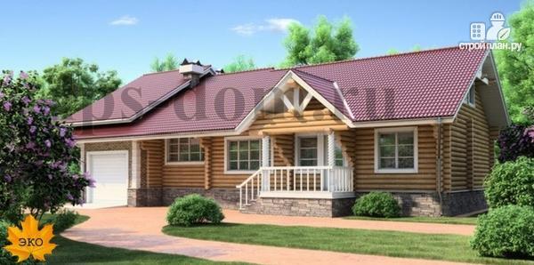 Фото: проект бревенчатый дом с гаражом и камином