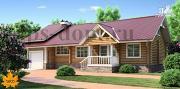 Проект бревенчатый дом с гаражом и камином