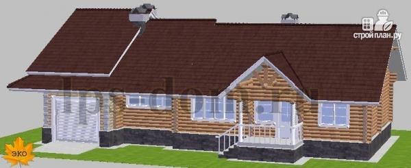 Фото 2: проект бревенчатый дом с гаражом и камином