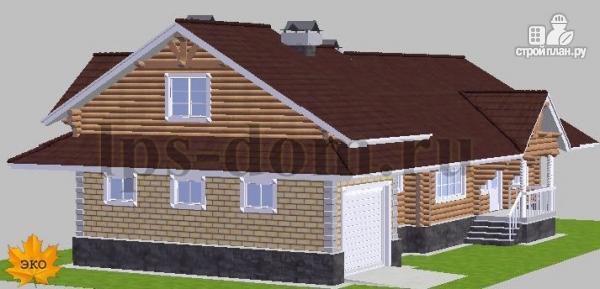 Фото 3: проект бревенчатый дом с гаражом и камином