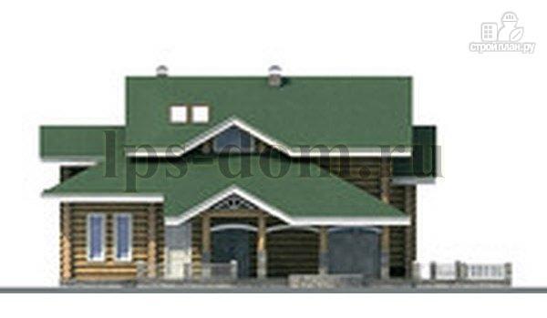 Фото 6: проект дом из бревна с большой террасой и вторым светом в гостиной