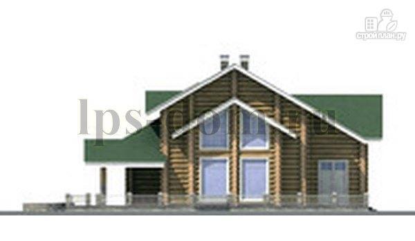 Фото 8: проект дом из бревна с большой террасой и вторым светом в гостиной