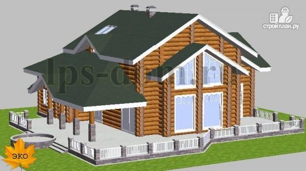 Фото 2: проект дом из бревна с большой террасой и вторым светом в гостиной