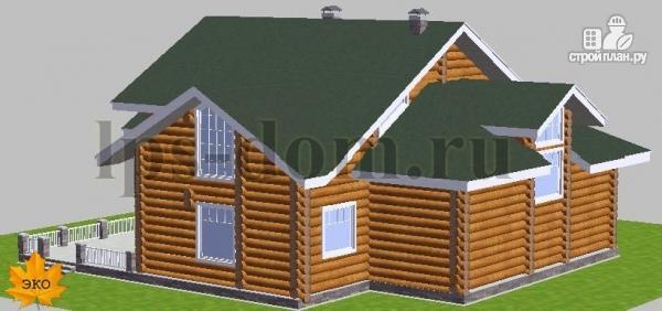 Фото 4: проект дом из бревна с большой террасой и вторым светом в гостиной