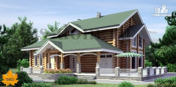 Фото: проект дом из бревна с большой террасой и вторым светом в гостиной