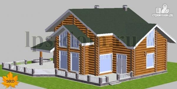 Фото 5: проект дом из бревна с большой террасой и вторым светом в гостиной