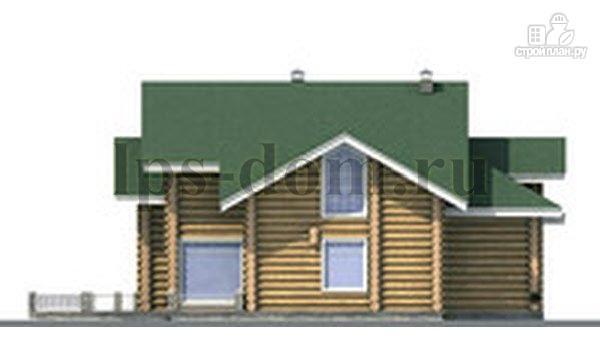 Фото 7: проект дом из бревна с большой террасой и вторым светом в гостиной