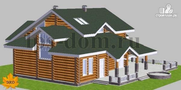 Фото 3: проект дом из бревна с большой террасой и вторым светом в гостиной