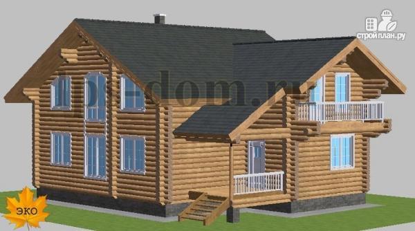 Фото 2: проект дом из бревна с цокольным этажом