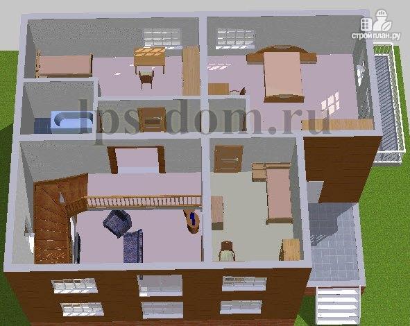 Фото 13: проект дом из бревна с цокольным этажом