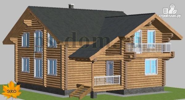 Фото 5: проект дом из бревна с цокольным этажом