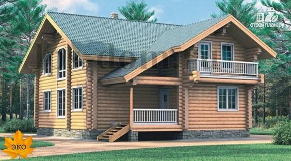 Фото: проект дом из бревна с цокольным этажом