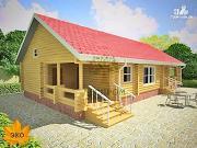 Проект бревенчатый дом 9х16 с сауной