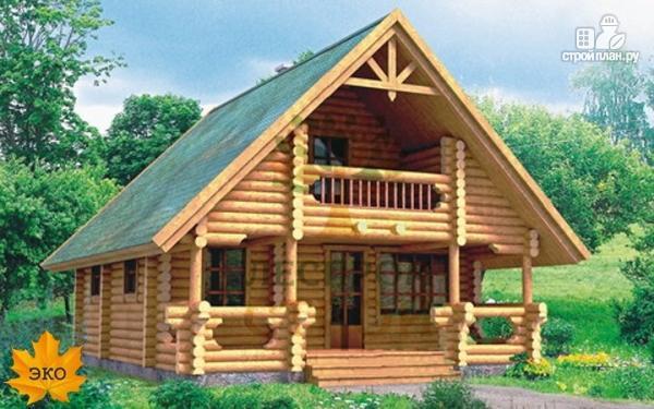 Фото: проект бревенчатый дом с мансардой и балконом