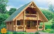 Проект бревенчатый дом с мансардой и балконом
