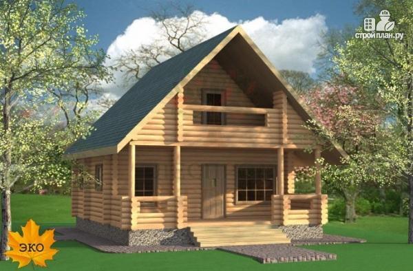 Фото 2: проект бревенчатый дом с мансардой и балконом